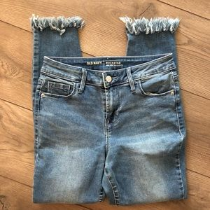 Old Navy✨high rise skinny jean fringe ankle